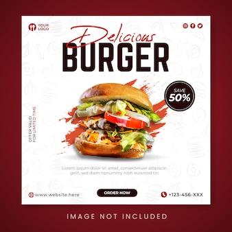 Deliziosa promozione sui social media di hamburger e modello di post su instagram