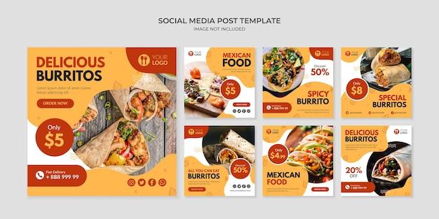Modello di post instagram delizioso burritos per ristorante di cucina messicana