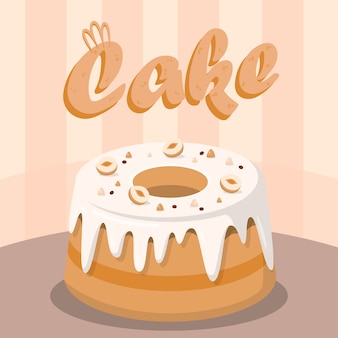 Delicious cake with nuts flat social media banner