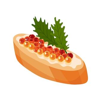 Delizioso caviale sul pane. prodotto a base di pesce rosso e storione o pesce della famiglia dei salmoni. cibo gourmet da vicino, antipasto. cibo prelibato di lusso, isolato su sfondo bianco