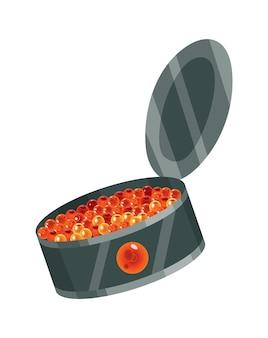 Delizioso snack al caviale, caviale in scatola. prodotto a base di pesce rosso e storione o pesce della famiglia dei salmoni. primo piano di cibo gourmet, antipasto. cibo di prelibatezza di lusso, isolato su sfondo bianco.