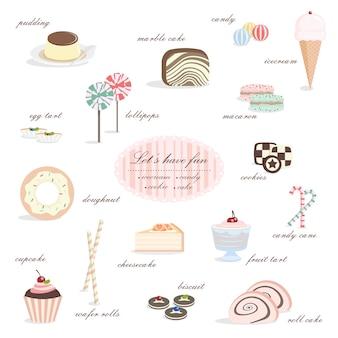 Deliziosa collezione di dessert di budino di torta di caramelle, gelato e ciambella.