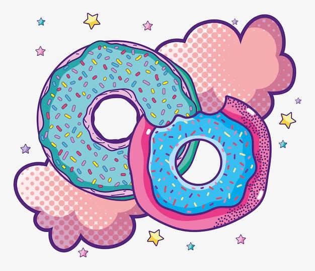 Delizioso fumetto colorato pop art di ciambella