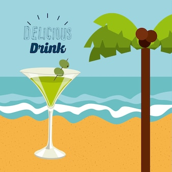 Progettazione deliziosa della bevanda, grafico dell'illustrazione eps10 di vettore