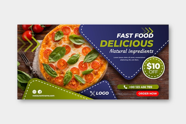 Delizioso modello di banner per fast food