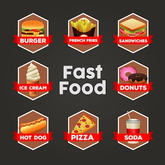 Modello di menu delizioso pacchetto fast food
