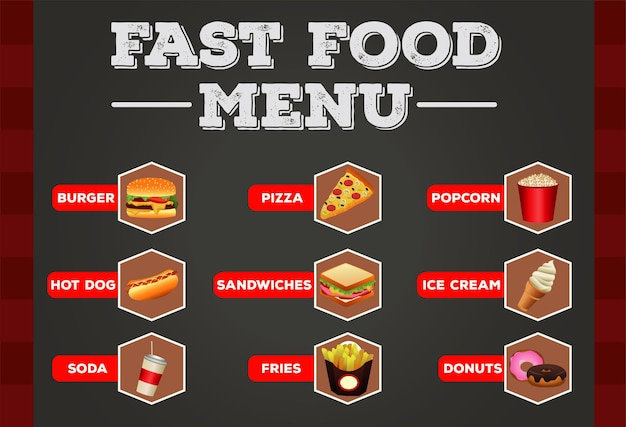 Delizioso menu in bundle di fast food con modello di lettere
