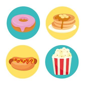 Deliziosi fast food in cornici di cerchio su bianco