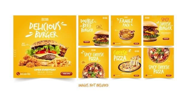 Modello instagram delizioso fast food per la pubblicità sui social media