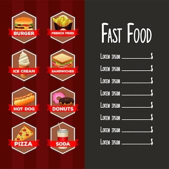 Modello di menu elenco delizioso fast food con scritte in sfondo rosso e grigio