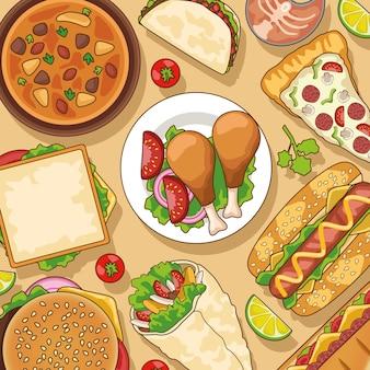 Delizioso modello di menu fast food