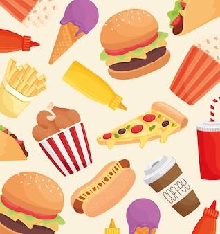 Deliziosi prodotti fast food pattern illustration design