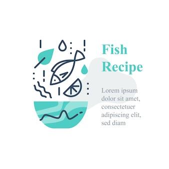 Deliziosa insalata di pesce, ricetta di frutti di mare, mangia cibo sano