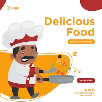 Design di banner cibo delizioso con lo chef che cucina il cibo in padella