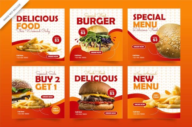Modello di post sui social media con hamburger di cibo delizioso