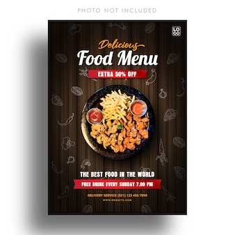 Modello di banner menu di cibo delizioso