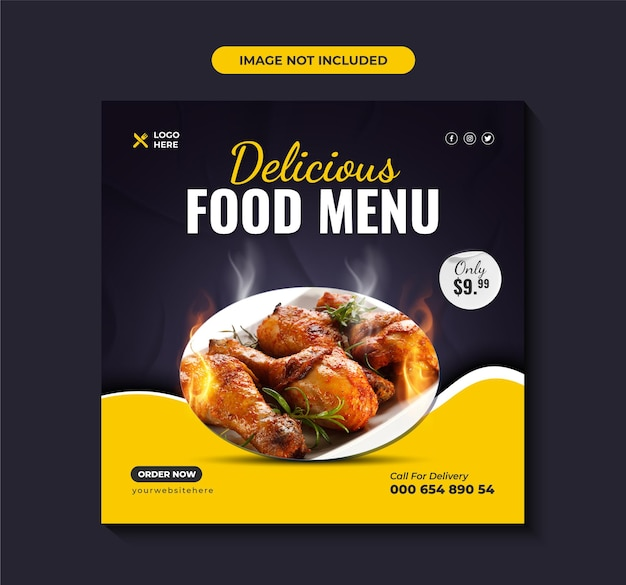 Menu di cibo delizioso promozione social media post premium vector