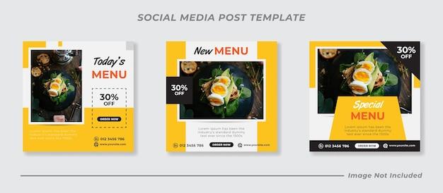 Menu di cibo delizioso e modello di post sui social media del ristorante