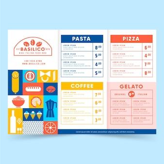 Modello di menu di cibo delizioso