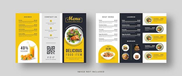 Brochure a tre ante con menu di cibo delizioso per ristorante