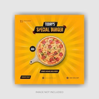 Banner di social media per cibo e pizza deliziosi e design di modelli di post su instagram