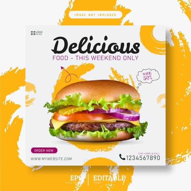 Modello di poster banner per social media cibo delizioso