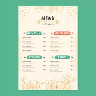 Cibi deliziosi in un modello di menu del ristorante