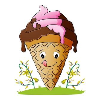Il delizioso cono gelato si sta sciogliendo di illustrazione