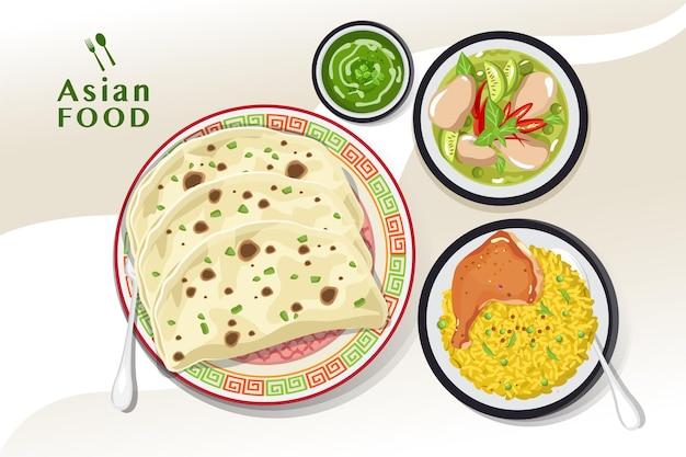 Delizioso cibo indiano, cibo tradizionale indiano paratha, illustrazione vettoriale