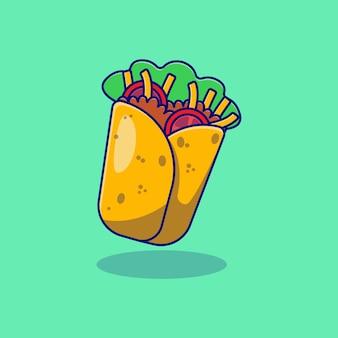 Disegno di illustrazione vettoriale di cibo delizioso kebab