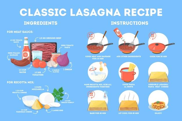 Ricetta deliziosa lasagna per cucinare a casa