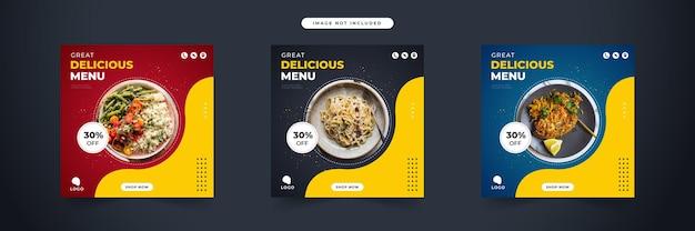 Delizioso menu cibo promozione sui social media e raccolta di modelli di banner post design