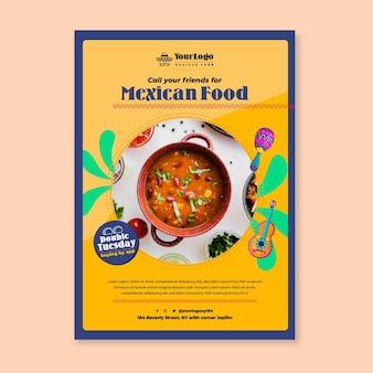 Modello di poster con vista dall'alto di delizioso cibo messicano