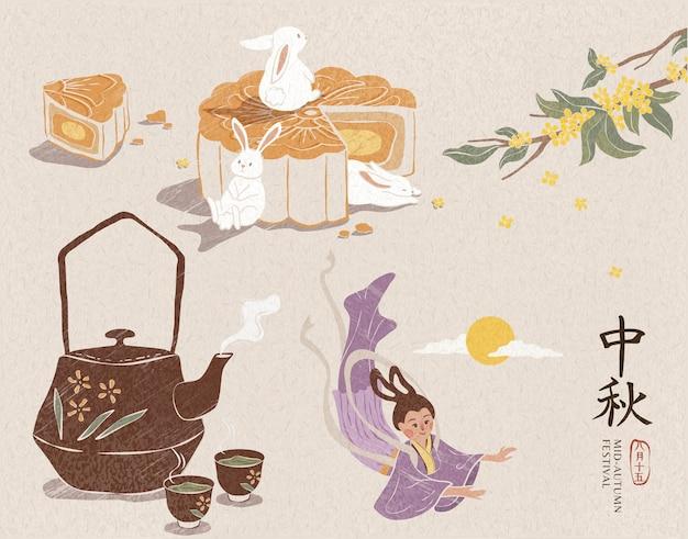 Delizioso mooncake simpatico coniglio di giada tè caldo e cambiamento per il festival di metà autunno