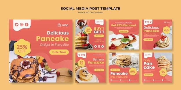Deliziosa promozione sui social media dei pancake e modello di post di instagram