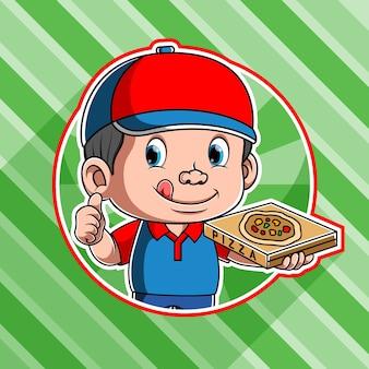 Deliziosa pizza corriere consegna utilizzare tappo rosso e blu