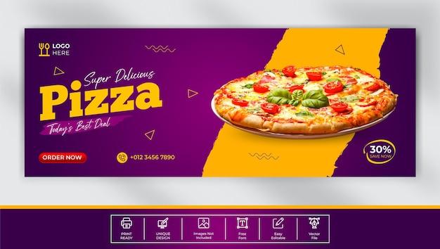 Deliziosa pizza modello di copertina facebook design