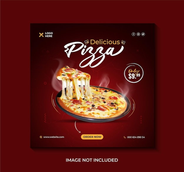 Deliziosa pizza menu di cibo post sui social media o modello di banner web vettore premium