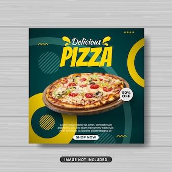 Deliziosa pizza vendita di cibo promozione social media post template banner