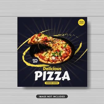 Banner di modello di post sui social media per la promozione della vendita di cibo delizioso della pizza