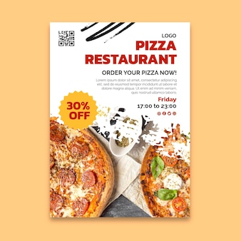 Volantino verticale del delizioso ristorante pizzeria