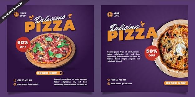 Modello di social media pizza deliziosa