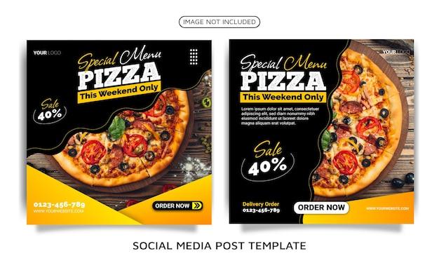 Post sui social media del modello di pizza deliziosa