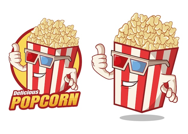 Deliziosa mascotte dei cartoni animati di popcorn