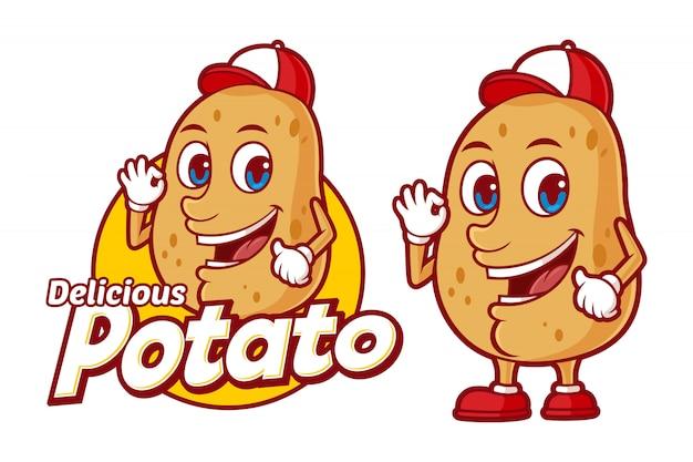 Modello di logo di patate deliziosa, con personaggio dei cartoni animati divertente