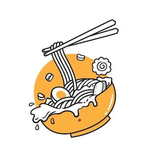 Deliziosa pasta al ramen con le bacchette