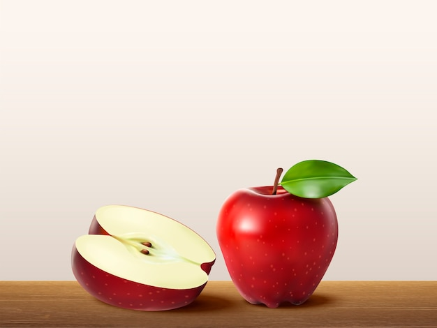 Deliziosa mela rossa, frutta fresca realistica sulla tavola di legno nell'illustrazione