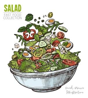 Deliziosa insalata con uova, formaggio feta e verdure. illustrazione di tiraggio della mano colorata di piatti sani freschi.