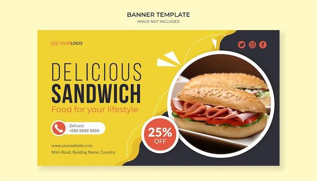 Modello di banner delizioso panino per ristorante fast food