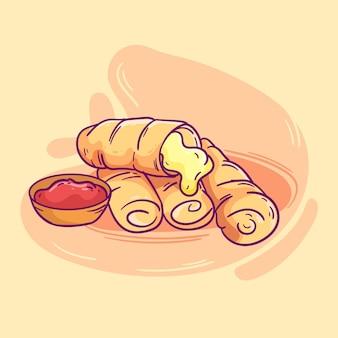 Deliziosi bastoncini di tequeños con salsa illustrati